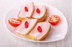 Panini con il petto, peperoncino, pezzi di pomodoro in piatto sulla tavola fotografia stock libera da diritti