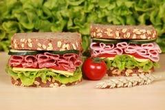 Panini con salame ed il prosciutto Immagine Stock