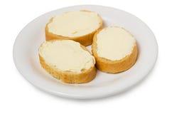 Panini da pane bianco con formaggio da spalmare Fotografia Stock