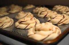 Panini danesi della pasta del cioccolato di torsione non cotta cruda di babka con il chocola Fotografie Stock