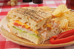 Panini de jambon et de fromage Image libre de droits