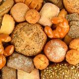 Panini dei prodotti del pane della raccolta, baguette, pane del cereale, muffin Fotografia Stock