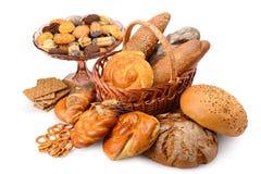 Panini dei prodotti del pane di varietà, pane, biscotti, isolato dei cracker Immagine Stock Libera da Diritti