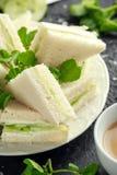 Panini del cetriolo con formaggio a pasta molle, sale marino e crescione acquatico per il ricevimento pomeridiano fotografia stock