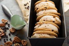 Panini del gelato con i biscotti di pepita di cioccolato Immagine Stock