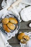 Panini del lievito con carne Fotografia Stock Libera da Diritti