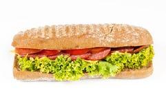 Panini del pomodoro, del salame e del formaggio Fotografie Stock
