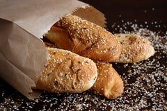 Panini della farina integrale di Brown Immagini Stock Libere da Diritti