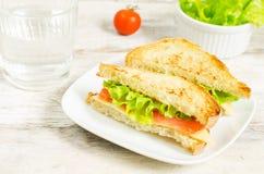 Panini di Panini con il salmone, il formaggio e l'insalata Immagine Stock Libera da Diritti