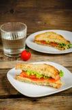 Panini di Panini con il salmone, il formaggio e l'insalata Fotografie Stock