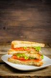 Panini di Panini con il salmone, il formaggio e l'insalata Immagine Stock