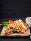 Panini do sanduíche de clube com presunto imagem de stock royalty free