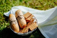 Panini e biscotti sui precedenti dell'erba verde del piatto Immagine Stock Libera da Diritti