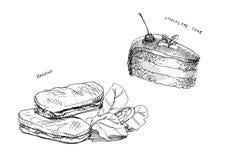 Panini e disegno a tratteggio del cioccolato del dolce illustrazione di stock