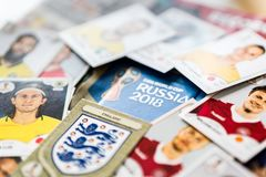 Panini FIFA World Cup Russia 2018 Official Licensed Sticker Album.  Stock Photos