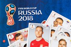 Panini FIFA World Cup Russia 2018 Official Licensed Sticker Album.  Stock Image