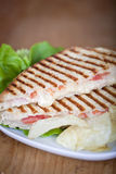 Panini. Fresh toasted panini cheese and ham sandwich with grill marks Stock Photos