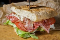 Panini with ham and bacon. Salad tomato and cheese on tasty bread stock photography
