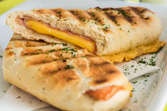 Panini. Ham and cheese served for lunch Stock Images