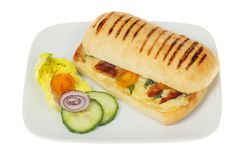 Panini on a plate. Cheese, tomato and pancetta panini with salad garnish on a plate isolated against white royalty free stock photo