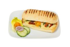 Panini on a plate. Cheese, tomato and pancetta panini with salad garnish on a plate isolated against white stock images