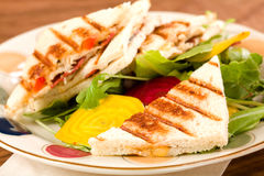 Panini with Salad Royalty Free Stock Photography