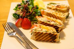 Panini with salad garnish on a plate. Toasted panini with salad garnish on a plate royalty free stock photo