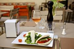 Panini salad and wine Royalty Free Stock Image