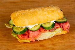 Panini with salmon royalty free stock image