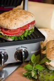 Panini Sandwhich being grilled Royalty Free Stock Photo