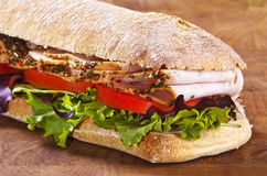 Panini sandwich. With lettuce tomato and turkey Royalty Free Stock Images