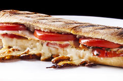 Panini sandwich. Grilled panini sandwich with melted cheese Stock Photography