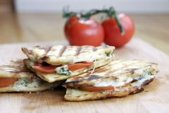 Panini Sandwich. With tomato, basil, and cheese Stock Photo