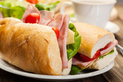 Panini sandwich with ham, cheese and tomato. Italian panini sandwich with ham, cheese and tomato Royalty Free Stock Images
