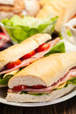 Panini sandwich with ham, cheese and tomato. Italian panini sandwich with ham, cheese and tomato Royalty Free Stock Photos