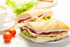 Panini sandwich with ham, cheese and tomato. Italian panini sandwich with ham, cheese and tomato Royalty Free Stock Photography