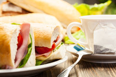 Panini sandwich with ham, cheese and tomato. Italian panini sandwich with ham, cheese and tomato Stock Images