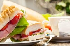 Panini sandwich with ham, cheese and tomato. Italian panini sandwich with ham, cheese and tomato Stock Image