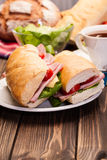 Panini sandwich with ham, cheese and tomato Royalty Free Stock Photos