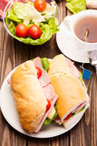 Panini sandwich with ham, cheese and tomato Stock Images