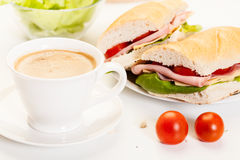Panini sandwich with ham, cheese and tomato Royalty Free Stock Image