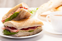 Panini sandwich with ham, cheese and tomato Stock Photo