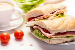 Panini sandwich with ham, cheese and tomato Royalty Free Stock Photo