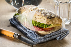 Panini sandwich. Image of a sandwich with red tomato, fresh lettuce and cheese, covered with sesame seeds wrapped in wrapping paper, on a blue napkin with a Stock Image