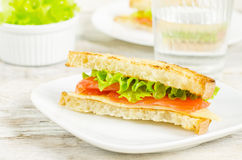 Panini sandwiches with salmon, cheese and salad Royalty Free Stock Photo