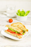 Panini sandwiches with salmon, cheese and salad Royalty Free Stock Photos