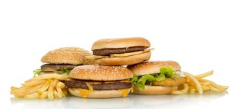Panini saporiti dell'hamburger Fotografia Stock