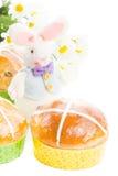 Panini trasversali caldi con il coniglietto di pasqua Immagini Stock