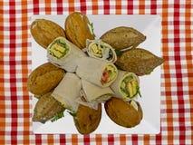 Panini vegetariani sani su un piatto Fotografie Stock