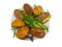 Panini vegetariani su un piatto Fotografie Stock Libere da Diritti